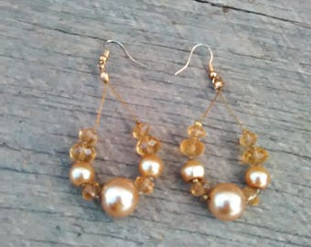 Long Gold and Amber Beaded Earrings, Inv.# 154