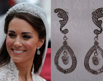 Kate Middleton Duchess of Cambridge Inspired Replikate Acorn Drop Oak Leaf Clear Crystal Pave Rhinestone Royal Wedding Bridal Earrings