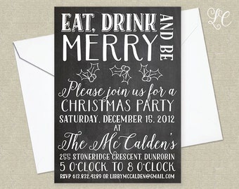 Chalkboard Christmas Party Invitation - Hand Lettered Christmas Invitation - Holiday Party Invitation - Customizable Party Invitation