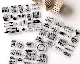 Coffee Clear rubber Stamps/I love weedends Stamps/stay the date /coffe date/Planner Stamps/Stamp Set/Food Stamps/Planning accessory/