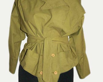 Olive Green Exaggerated 1980s Jacket