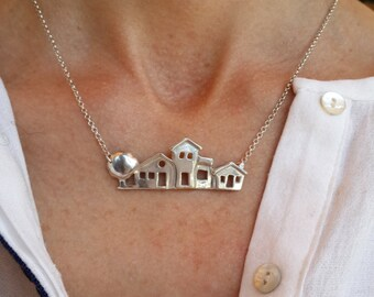Sterling Silver House Necklace- Mother's Day Gift,Valentine's Day Gift-Anniversary Birthday Gift-Handmade Necklace