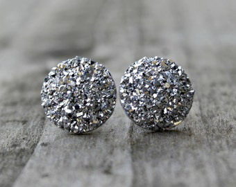 Titanium Earrings, Big Silver Druzy Rhinestones, Hypoallergenic