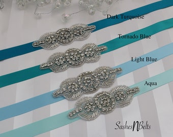Blue Bridesmaid Belt, Flower Girl Belt, Turquoise belt, wedding belt, flower girl belt,  turquoise flower girl belt, bridesmaids gift