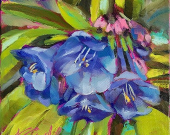 floral home decor | floral wall decor | floral wall art | bluebells floral art | bluebells painting | daily painting | home art decor