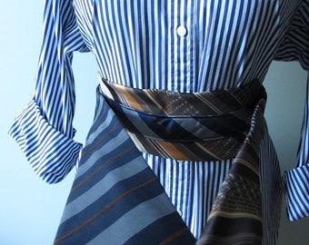 Wide belt obi Cienture festival waist belt Upcycled clothing Fabric sash belt Steampunk necktie belt Gürtel zero waste Minimalist gift