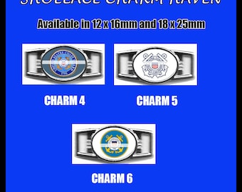 COAST GUARD Shoelace Charm  Paracord Bracelet Charm Oval Charm 12 x 16mm or 18 x 25mm Charms
