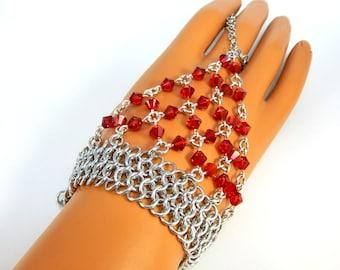 Chainmaille Jewellery, Chainmail Bracelet, Slave Bracelet, Hand Flower, Red Swarovski Crystal