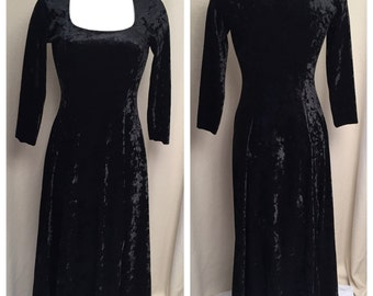 Black velvet like dress, vintage velour look of crushed velvet,Jumping joy