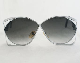 Sunglasses- Large Silver Frame oversize 70's 80s retro glasses by Taiwan ROC