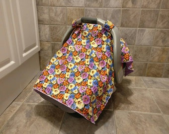 Universal purple canopy for carseat, girl car seat canopy, soft baby car seat canopy, baby car seat cover, floral infant car seat canopy