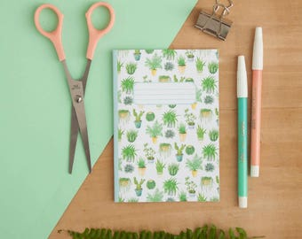 Impression de plantes d'intérieur | Carnet de poche A6 illustré | Ordinateur portable | A6 Carnet de notes | Motif de cactus | Plantes | Plantes grasses | Le bloc-notes | Journal