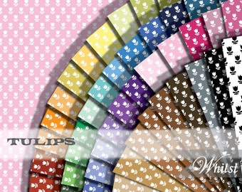 Spring flower digital paper tulip scrapbook printables craft supplies : L0740k v301