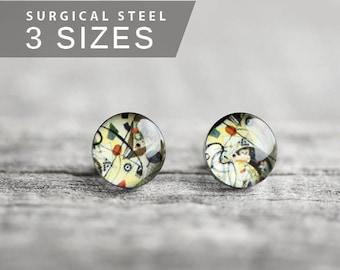 Kandinsky post earrings, Surgical steel stud, Abstract Art stud earrings, Tiny earring studs, gift for her, womens earring