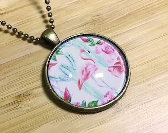Flamingo and Roses Necklace