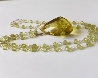 Peridot Jewelry, Peridot Beads, Lemon Quartz Necklace, Lemon Quartz Faceted Gemstone, Peridot Wire Wrapped Rosary 925 Sterling Silver