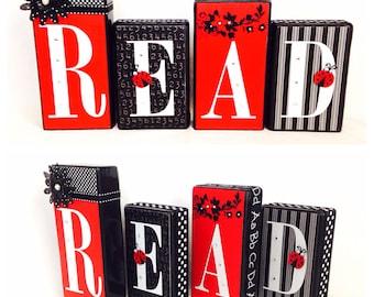 Red & Black Lady Bug Read Blocks