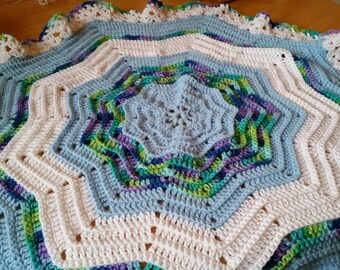 Crocheted Blue and White Baby Afghan, Handmade--Ready to Ship