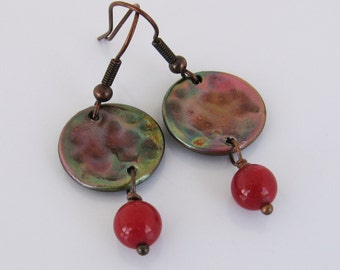 Handmade Hammered Copper Disc Earrings with Heat Patina and Cherry Jade Beads, Colorful Copper Earrings, Red Earrings, Dangle Earrings