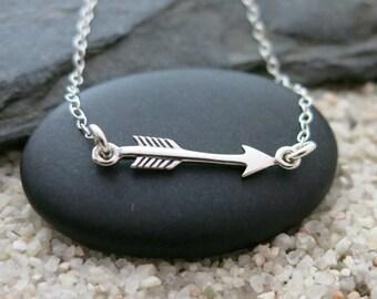 Small Arrow Necklace, Sterling Silver Horizontal Arrow Charm, Arrow Jewelry