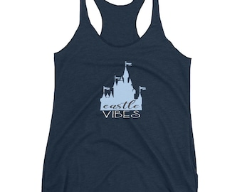 Walt Disney World Castle Vibes Women's Racerback Tank | Cinderella Castle Tank Top | Disney Shirt | Cinderella Shirt | Disney Princess Tanks