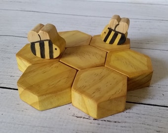 Waldorf wood honeybee play set