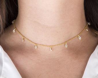 Gold Cubic Zirconia, CZ Teardrop Shaker Choker Necklace, Dainty Choker, Bridesmaids Necklace, Gold Choker Necklace, CZ Drops Shaker Necklace