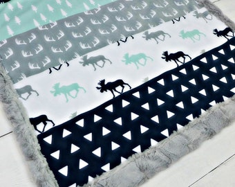 Moose Baby blanket, personalized Minky blanket, Mint Navy Gray woodland blanket, cuddle baby shower gift, birth, boy blanket, throw blanket