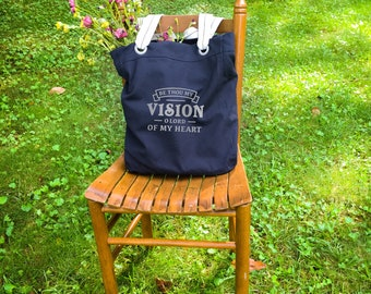 Be Thou My Vision canvas school bag navy blue, canvas school bag, bible study tote, Christian school teacher gift, mothers day gifts