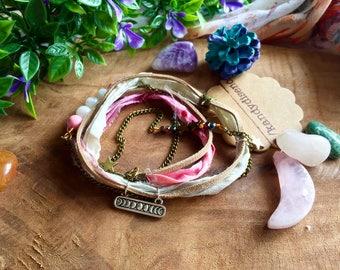 Moonstone Wrap bracelet Moon Phases. Pink Sari Silk Boho ankle Bracelet. Moon Stars Boho anklet, Multiway 3 in 1. Sari silk crystal bracelet