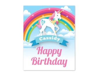 Rainbow Unicorn Welcome Sign / Customized, DIY, Girls Birthday Party