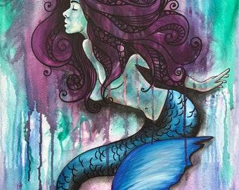 Paper wood magnet from acrylic painting octopus ocean underwater female mermaid artwork