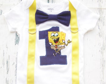 Baby boy first birthday Spongebob number 1 onesie with bow tie and suspenders boy first birthday boy number 1 onesie boy first birthday