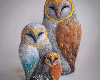 needle felted barn OWL by The Lady Moth - fibre art - owl sculpture - needle felted bird - ready to ship - UK