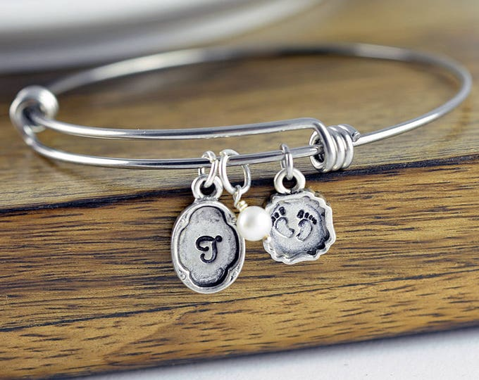 Personalized Initial Bracelet, New Mom Gift, Personalized Silver Bracelet, New Baby Gift, Baby Feet Charm, Gift for Her