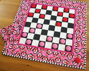 Penguin Checkers Game Quilt Kids Snow Day Activity | Penguin Checkerboard Quilted Game | Winter Vacation Indoor Fun Game Board Quilt Decor