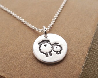 Tiny Mother and Baby Sheep Necklace, Ewe and Lamb, New Mom Necklace, Fine Silver, Sterling Silver Chain, Made To Order