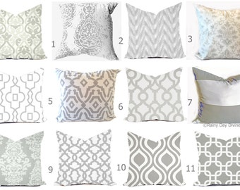 Grey Pillow Covers - Grey and White Throw Pillows - Decorative Pillows - Gray Pillows - Gray Euro Sham - Grey Couch Accent Pillows