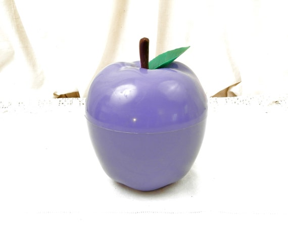 Vintage French Mid Century 1970s Purple Apple Ice Bucket, Plastic 70s Fruit Shaped Ice Cube Container, 60s Retro Cocktail Party from France