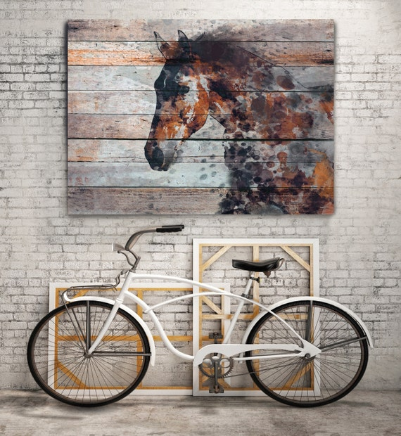 """Fire Horse. Extra Large Horse, Unique Horse Wall Decor, Brown Rustic Horse, Large Contemporary Canvas Art Print up to 72"""" by Irena Orlov"""