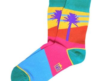 Summer socks, palm tree socks, socks gift, crazy socks for men, men's argyle socks, cool socks, women's argyle socks, funky men socks, socks
