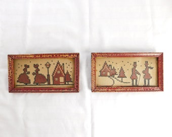 Pair of Primitive Framed Red and Black Needlework - Crosstitch - Houses / People