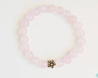 Rose quartz with antique gold flower bracelet