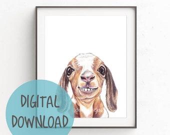 Goat Nursery Art Print - Digital Download, Baby Animal, Instant Download, Printable