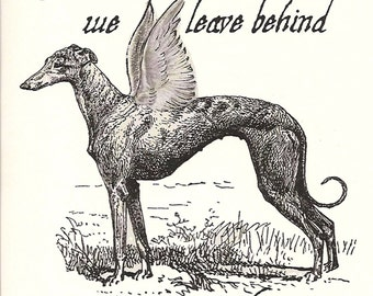 Greyhound Dog Sympathy Card with Envelope - Victorian Lithograph