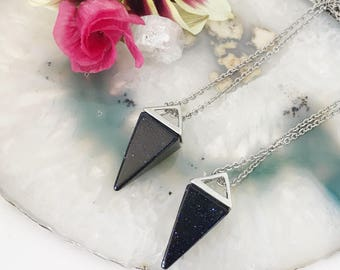 Gemstone Necklace | Black Agate Necklace | Blue Goldstone Bullet Point Necklace | quartz Necklace | Long Crystal Necklace | Boho Necklace |