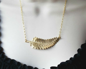 Gold Fern Leaf Necklace, womens gift, large pendant necklace, Christmas gift, black friday