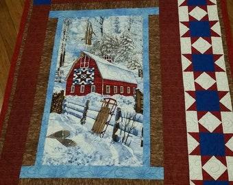 Winter Barn scene Quilt