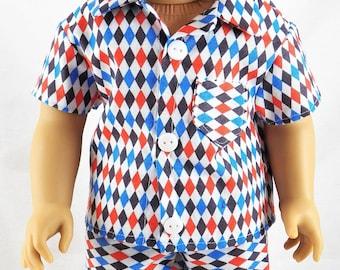 "18"" American Doll Girl Boy Summer Pajama's"