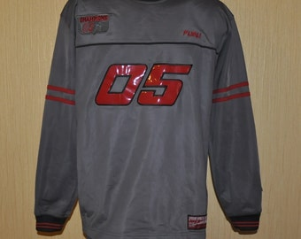 FUBU jersey, vintage gray Fubu t-shirt, longsleeve shirt of 90s hip-hop clothing, 1990s hip hop, OG, gangsta rap, size L